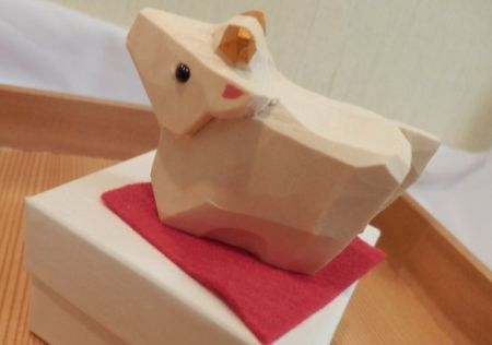 横浜熊野神社 牛の木彫り画像